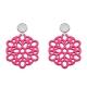 Ohrringe pink aus Horn rund mit Ornamenten aus der Mauritius Kollektion von Romy North