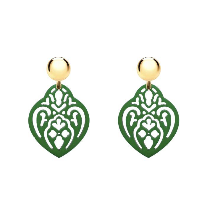 grüner Ohrring aus Horn mit gold stecker im sale