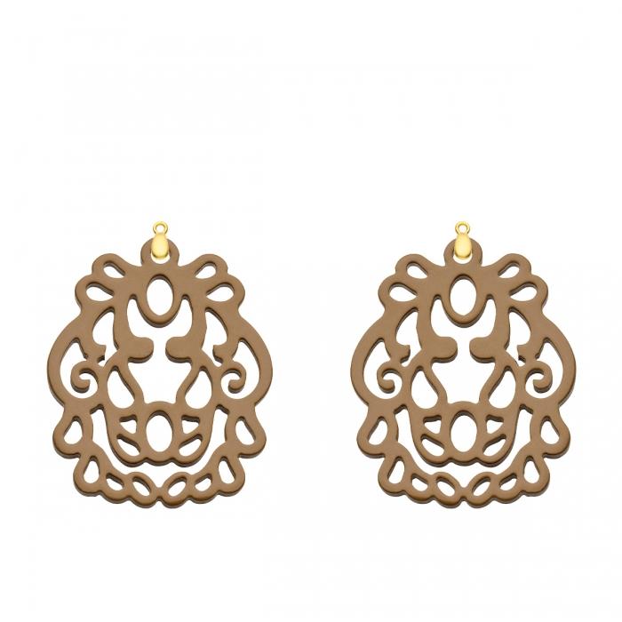 Ornament Anhänger aus Horn in Braun für das Wechselsystem in Gold