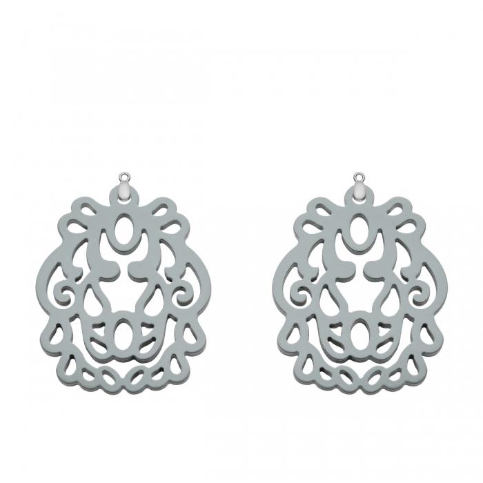 Ornament Anhänger Schmuck Grau für Wechselohrringe aus Silber Romy North