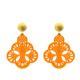 Ohrringe aus Horn in orange mit gold matt Stecker aus der Capri Kollektion