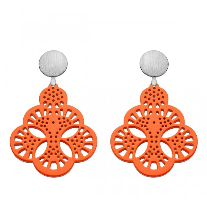 Ohrringe Silber Wechselsystem mit Orange Anhänger aus Horn aus der Capri Kollektion von Kollektion von Romy North
