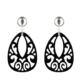 federleichte Ohrringe in schwarz aus Horn mit silber glänzenden Ohrclip aus der Jamaika Kollektion