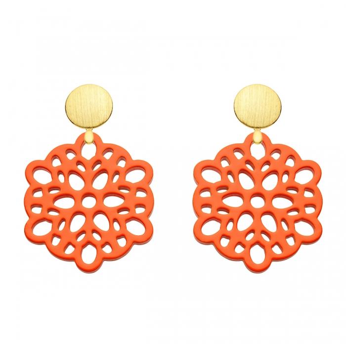 Orange Ohrringe aus Horn mit Gold Wechselsystem der Mauritius Kollektion von Romy North
