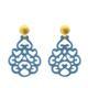 Ohrring aus Horn in jeansblau mit gold matten Ohrsteckern aus der Reunion Kollektion