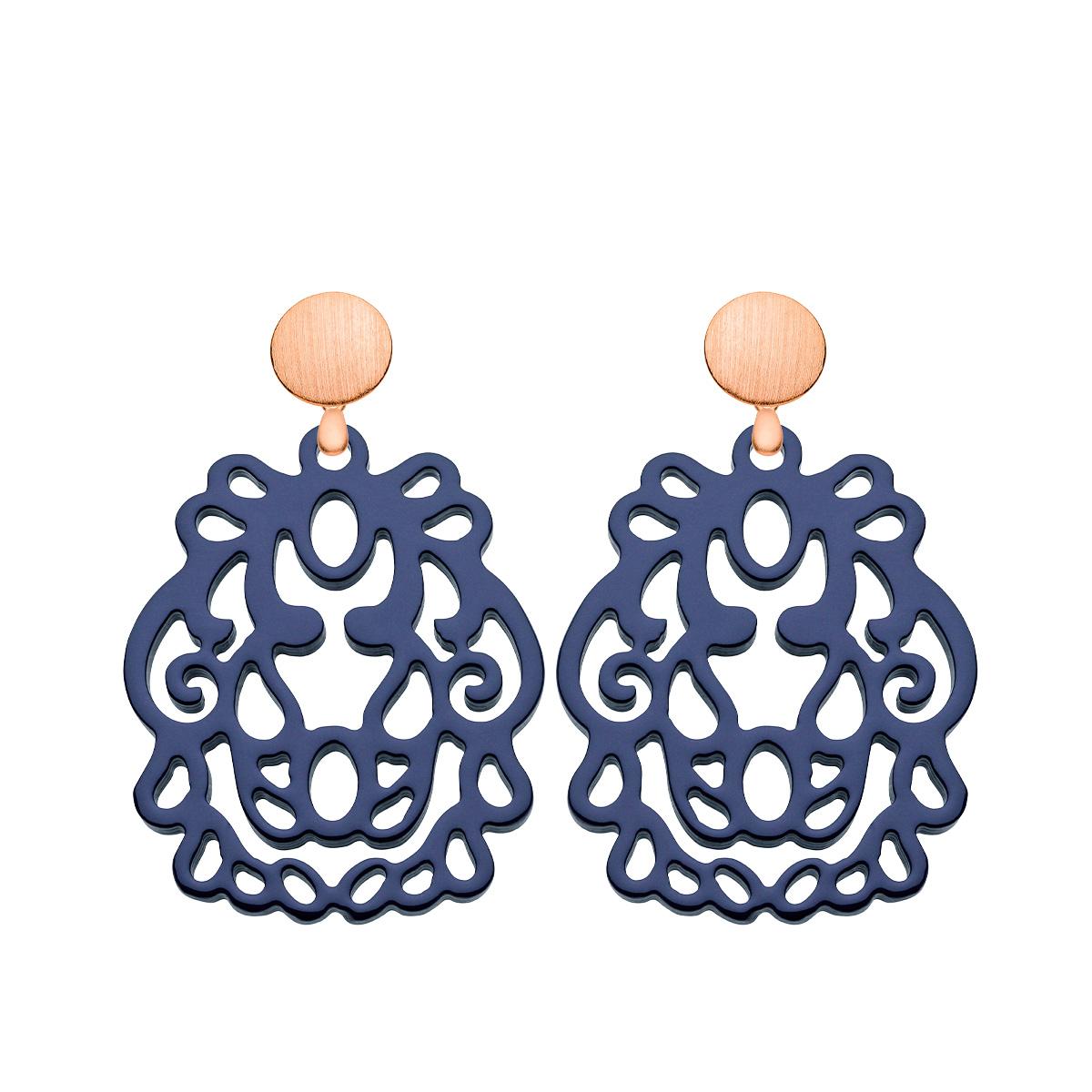 Ohrringe blau aus Horn mit Rosestecker aus der Bali Kollektion von Romy North