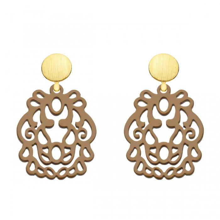 Besondere Ohrringe aus Horn mit Goldstecker und mit Wechselsystem aus der Bali Kollektion von Romy North