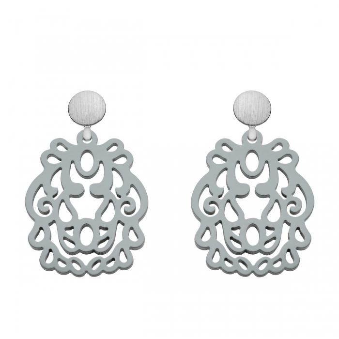 Ohrringe in Grau mit Silberstecker aus Horn aus der Bali Kollektion von Romy North