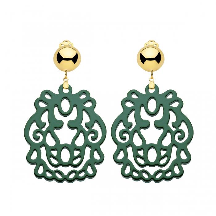 Ohrclips in Grün aus Horn von Romy North mit gold Clip
