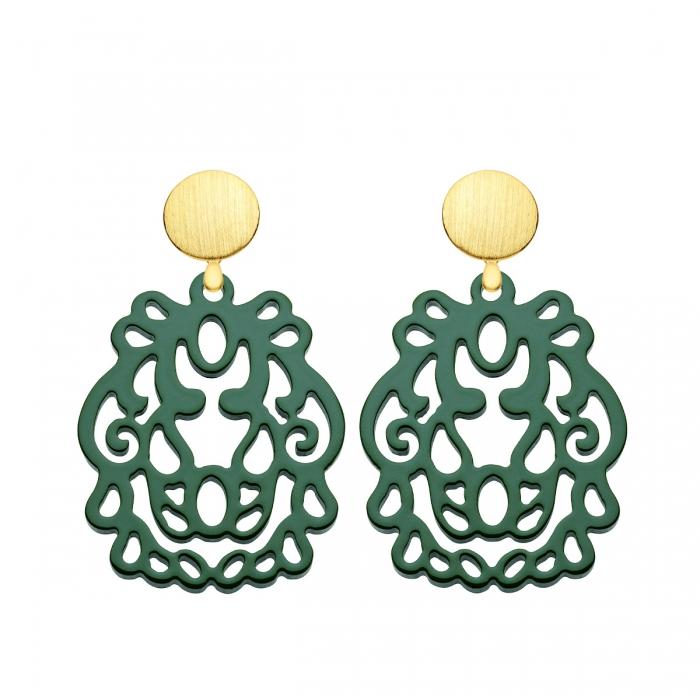 Ornament Ohrringe Grün mit Wechselsystem in Gold aus der Bali Kollektion von Romy North
