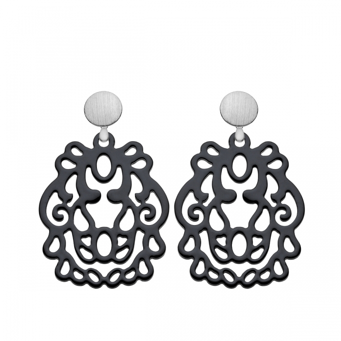 Ohrringe schwarz mit Silberstecker aus der Bali Kollektion von Romy North