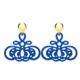 Hornohrringe in blau mit gold glänzenden Ohrsteckern aus der Barbados Kollektion