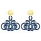Ohrringe aus Horn in Mittelblau und mit Wechselsystem mit Goldstecker von Romy North