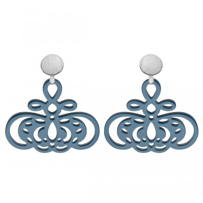Schöne Ohrringe Blau aus Horn mit matte, runde Silberstecker aus der Barbados Kollektion von Romy North