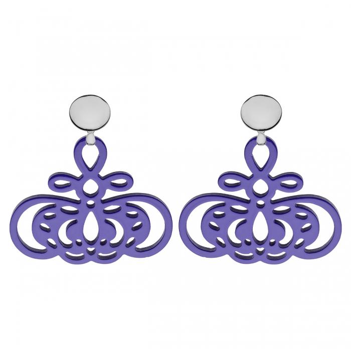 Ohrringe violett aus Horn mit Silberstecker von Romy North