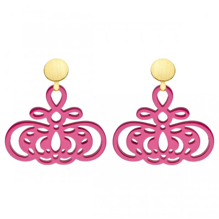 Ohrringe pink aus Horn mit Goldstecker von Romy North