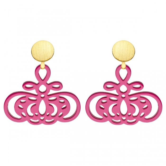Pinke Ohrringe aus Horn mit Rosestecker und mit Wechselsystem in Gold aus der Barbados Kollektion von Romy North