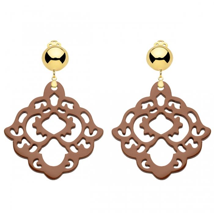 Ohrclips Ohrringe in Gold und Braun aus der Bora Kollektion von Romy North