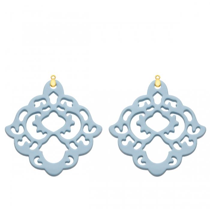 Hellblaue Ohrringe Anhänger aus Horn für das Wechselsystem in Gold von Romy North