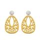 Gelbe Ohrringe aus Horn mit Ornamenten aus Horn aus der Jamaika Kollektion von Romy North