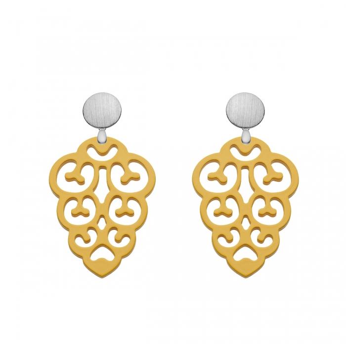 Ohrringe Gelb aus Horn in Tropfenform mit matte Silberstecker aus der Korsika Kollektion von Romy North