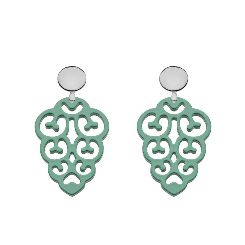 Ohrringe grün aus Horn in Jadegrün mit Silberstecker von Romy North