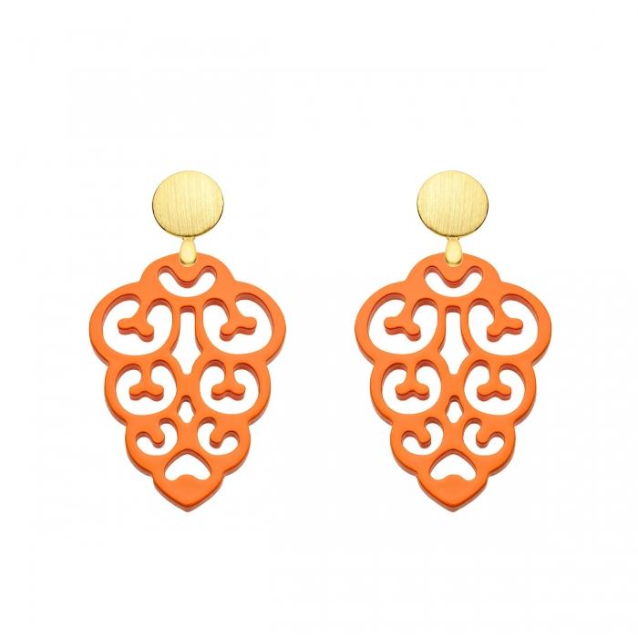 Tropfen Ohrringe orange aus Horn von Romy North aus der Korsika Kollektion