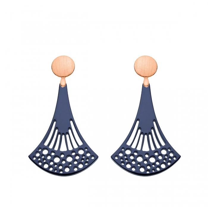 Blaue Ohrringe lang aus Horn mit Rosestecker aus der Ponza Kollektion von Romy North