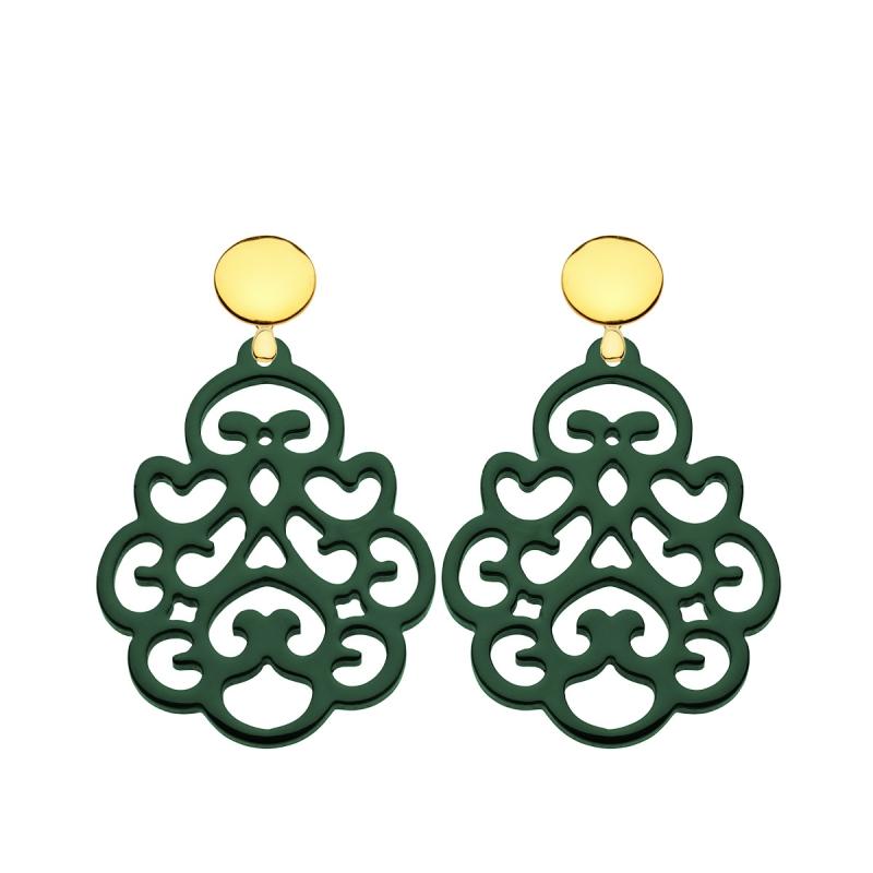 Ohrringe grün aus Horn mit Ornamenten aus der Reunion Kollektion von Romy North