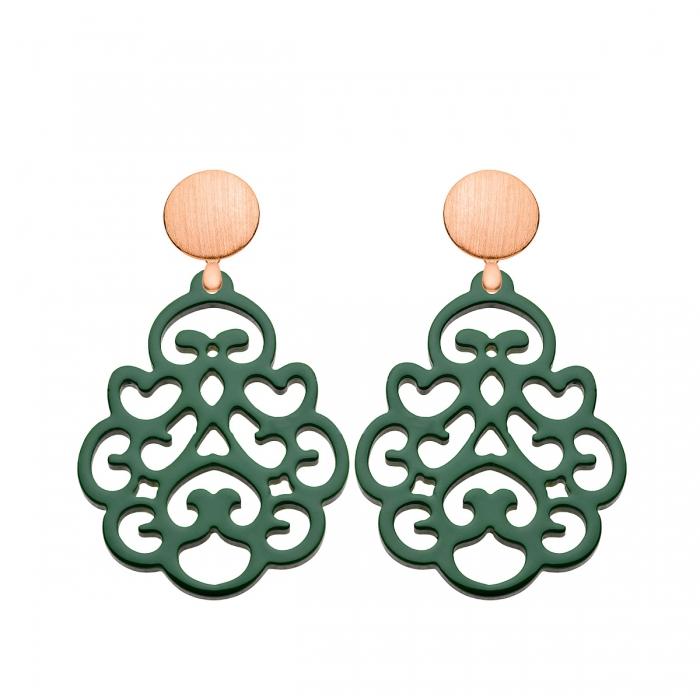 Ohrringe dunkelgrün mit Ornamenten mit Rosegold Wechselsystem von Romy North