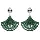 Ohrclips grün aus Horn mit Silber glänzenden Clips aus der St. Barth Kollektion