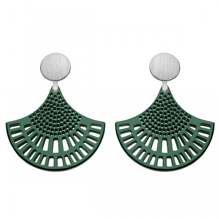 Grüne Ohrringe Silber mit Ornamenten aus Horn mit Wechselsystem von Romy North
