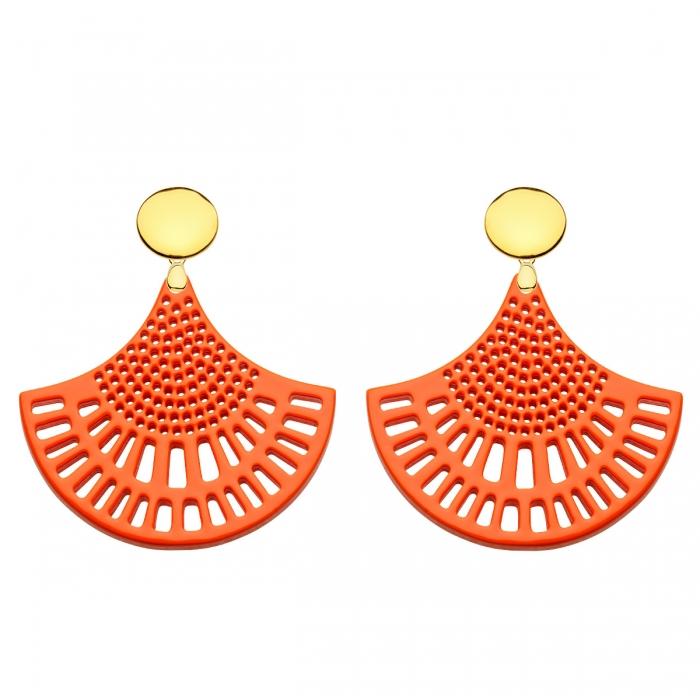 Ohrringe orange aus Horn mit runde Goldstecker aus der St. Barth Kollektion von Romy North