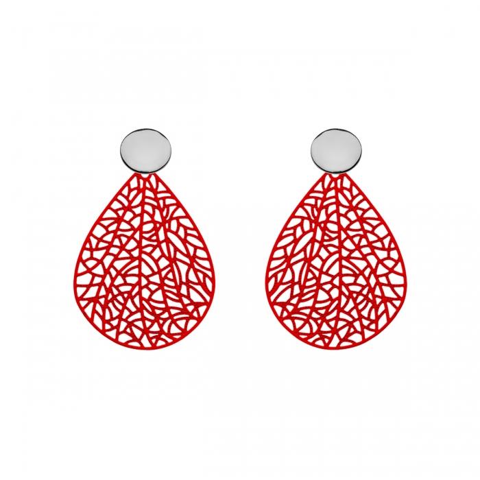 Ohrringe Tropfenform in Rot mit Silberstecker von Romy North