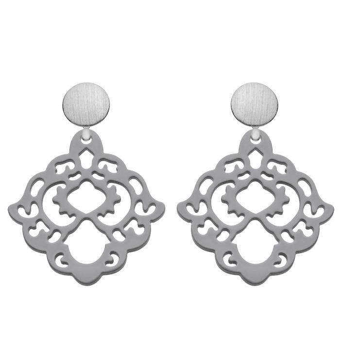 Ohrringe grau aus Horn mit Silber matt Steckern aus der Bora Bora Kollektion