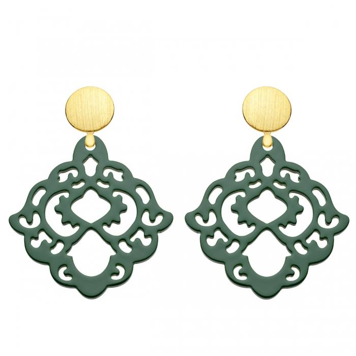 Grüne Ohrringe mit Wechselsystem in Gold aus der Bora Bora Kollektion von Romy North