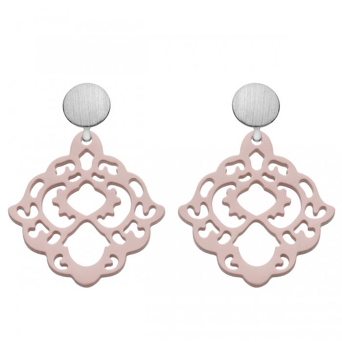 Ornament Ohrringe mit Wechselsystem in Pastellrosa mit Silberstecker aus der Bora Bora Kollektion von Romy North