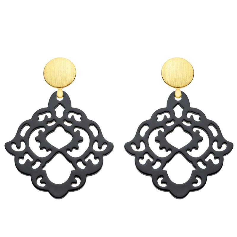 Ohrringe Damen mit Wechselsystem aus Horn in Schwarz mit Goldstecker als Wechselsystem aus der Bora Bora Kollektion von Romy North