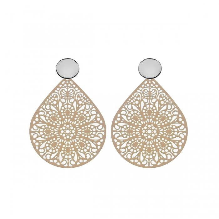 Ohrringe Tropfen in Beige mit Ornamenten mit Silberstecker aus der Ibiza Kollektion von Romy North