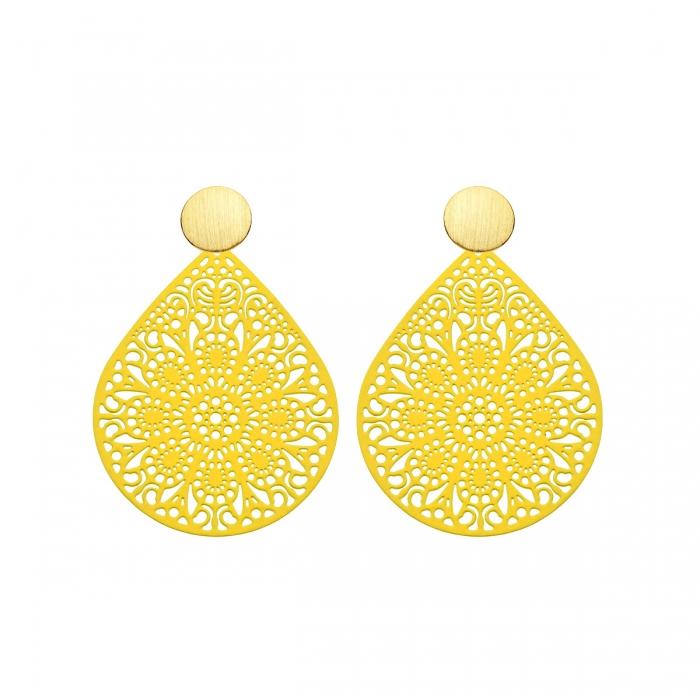 individuelle Ohrringe Gelb mit Ornamenten aus der Ibiza Kollektion von Romy North