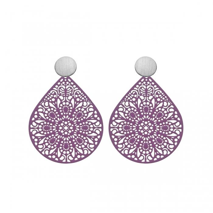 individuelle Ohrringe in Pflaume mit Ornamenten aus der Ibiza Kollektion von Romy North