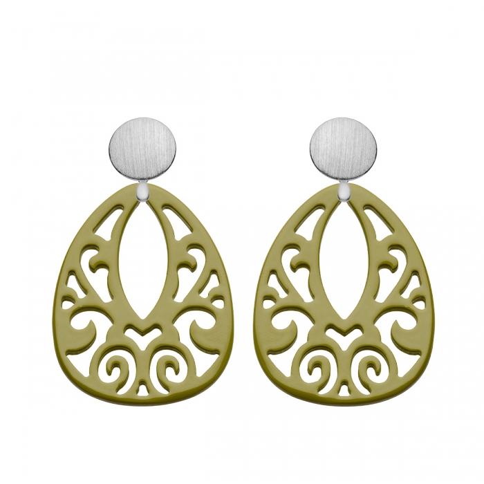 Ohrringe groß in Olivgrün aus Horn mit Gold Wechselsystem und Ornamenten aus der Jamaika Kollektion von Romy North