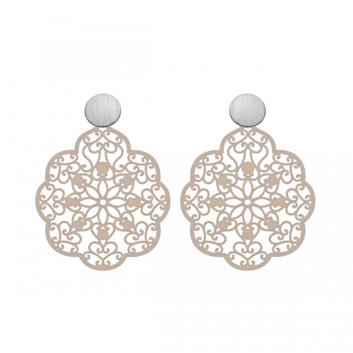 Ohrringe Ornamente in Beige aus Messing mit matte Silberstecker von Romy North