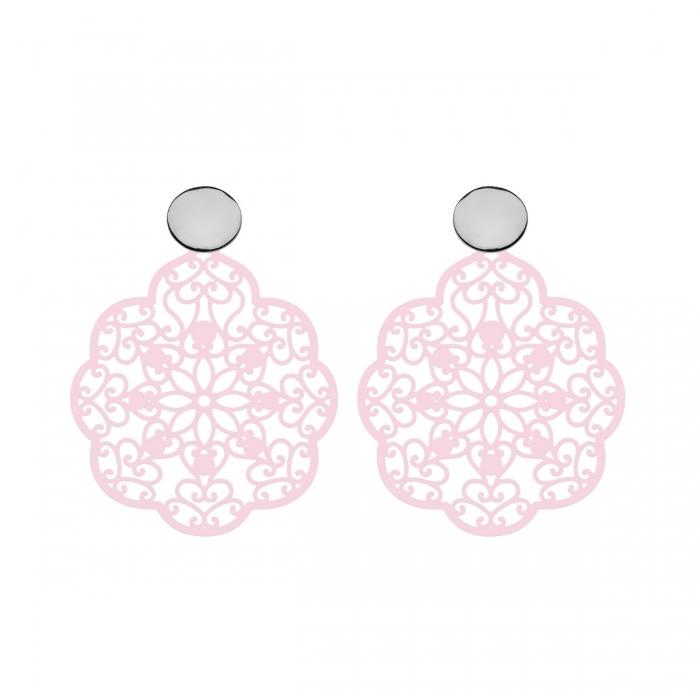 Zarte Ohrringe Blatt in Rosa mit Silberstecker