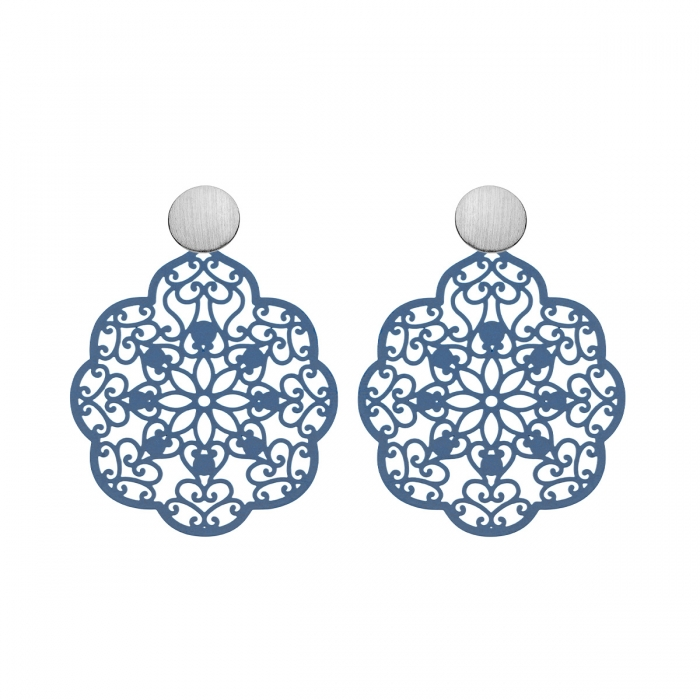 Ohrringe Damen in Blau mit Ornamenten mit matte Silberstecker von Romy North