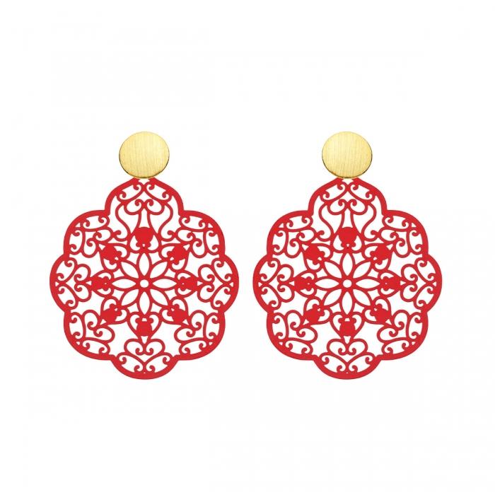 Ohrringe Rot aus Messing in Form von Blätter mit Goldstecker von Romy North