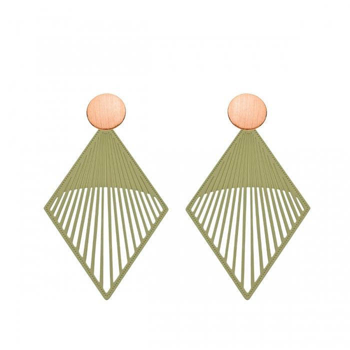 Ohrringe Damen in Olivgrün RauteformOnlineshop Romy North