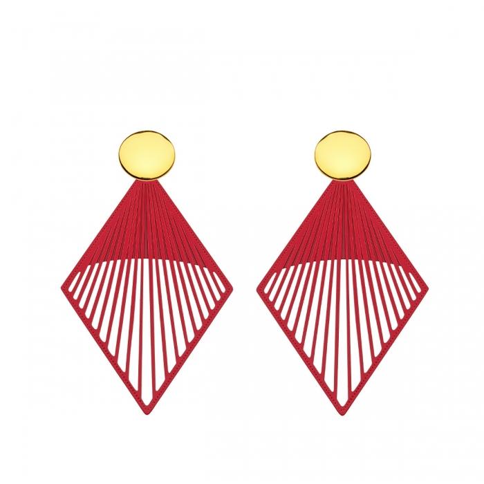 Rote Ohrringe aus Messing mit runde goldene Stecker aus der Mykonos Kollektion von Romy North