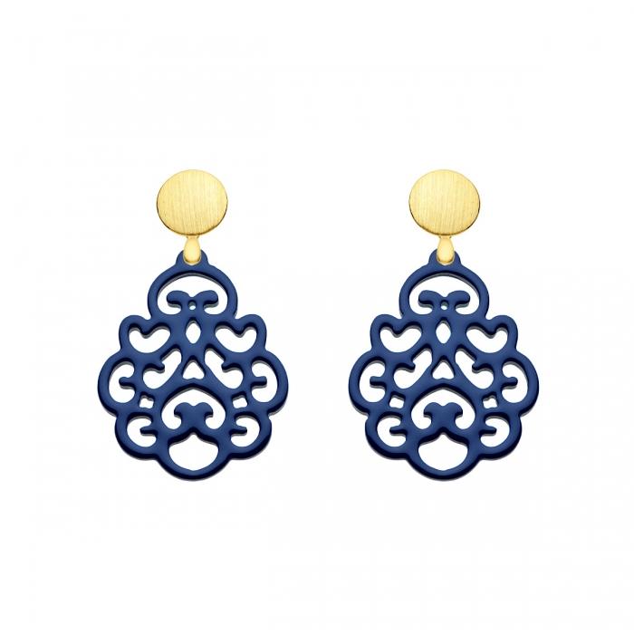 Ohrringe Blau für Damen in Tropfenform aus Horn mit matte Goldstecker von Romy North