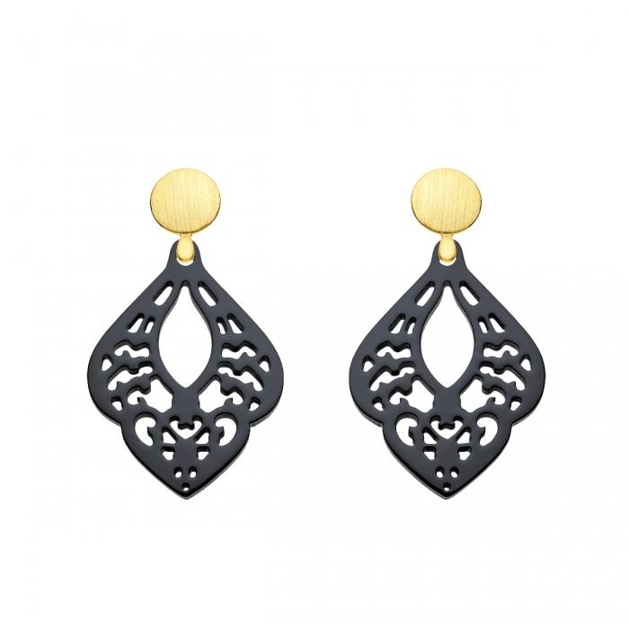 Ohrringe schwarz mit matten Goldsteckern aus der St. Lucia Kollektion von Romy North
